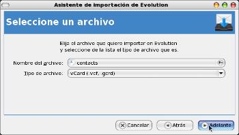 Asistente de importación de Evolution - contactos